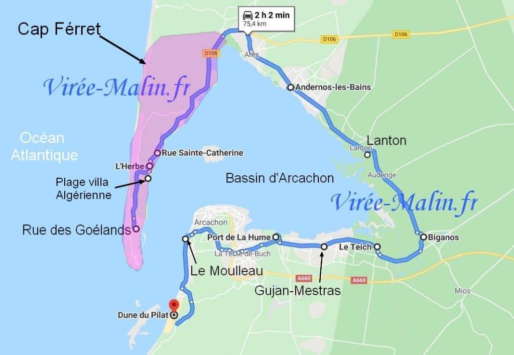 visiter-bassin-arcachon-googlemap