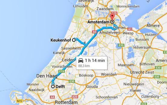 googleMap-Keukenhof-Delft-Amsterdam