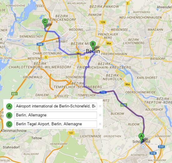 rejoindre berlin depuis aeroport berlin GoogleMaps