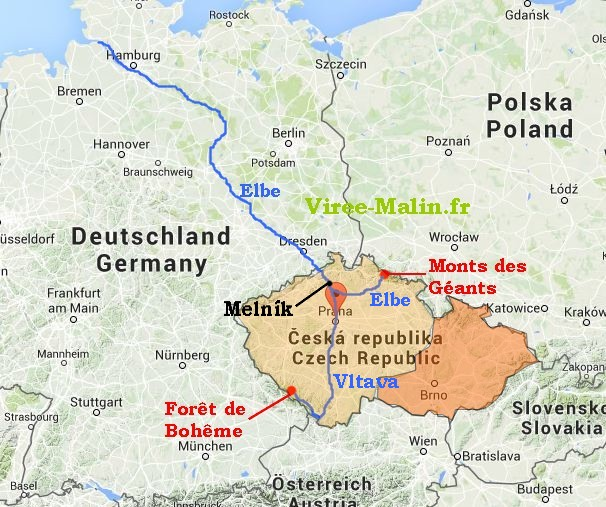 carte-prague-histoire-fleuve-Vltava-Elbe
