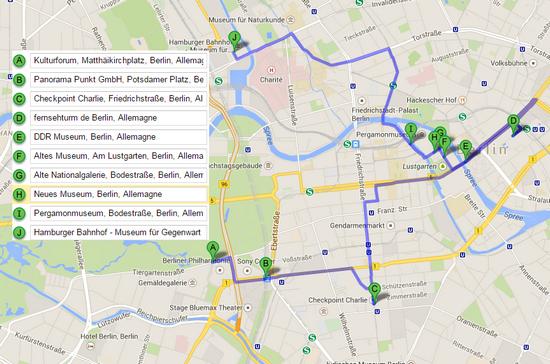 plan googleMap pour visiter berlin