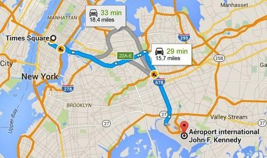 googleMap-Aeroport-JFK-Times-square-taxi