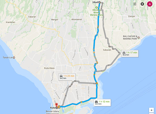 itineraire-Kuta-Ubud-Bali