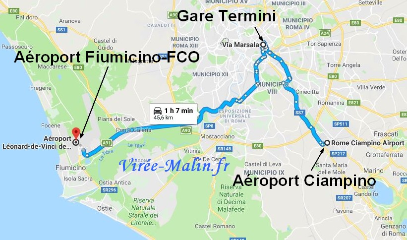 rejoindre-hotel-rome-aeroport