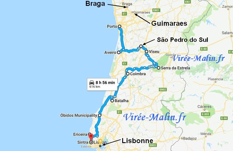 visiter-portugal-nord-itineraire-googlemap