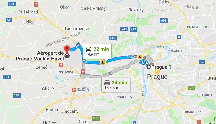Trajet-voiture-depuis-aeroport-Prague