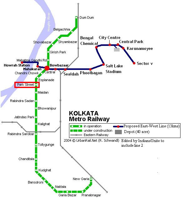 Plan du métro Calcutta