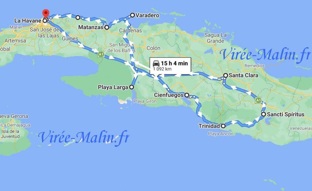 carte-itineraire-cuba-vers-trinidad