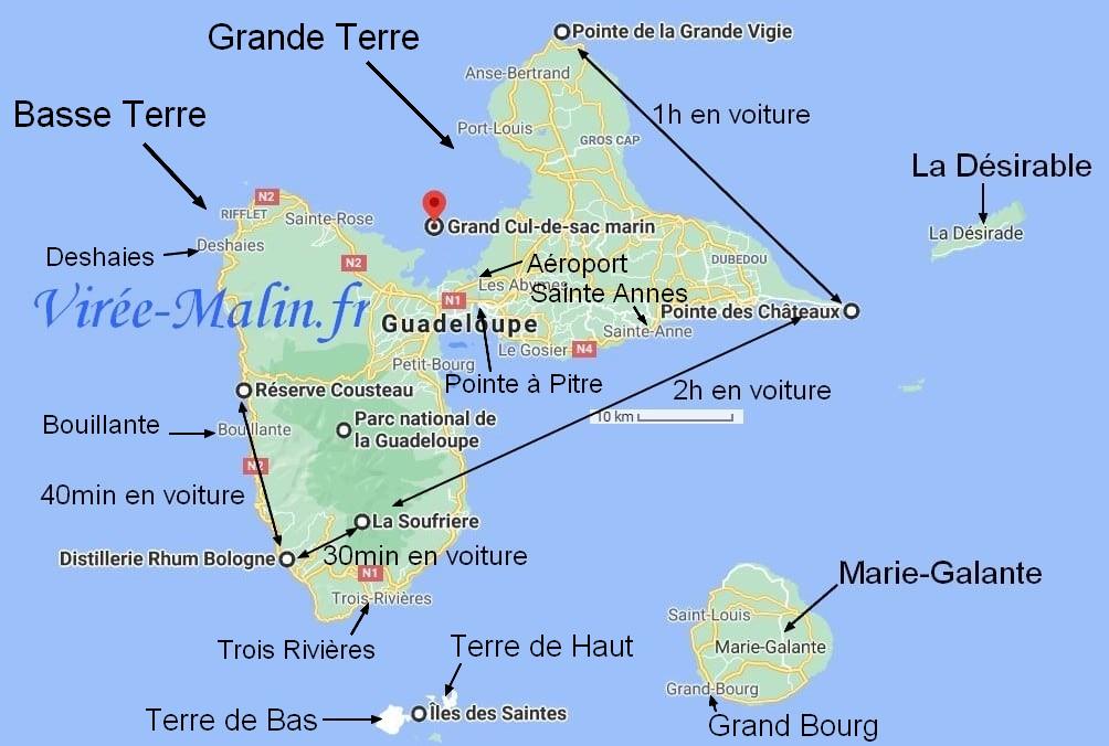 que-faire-Guadeloupe-googlemap-basse-terre