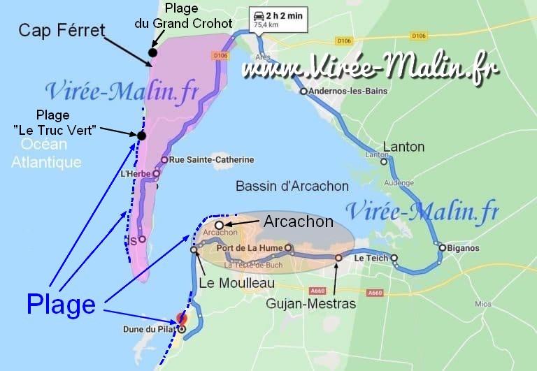 activites-plages-arcachon-carte