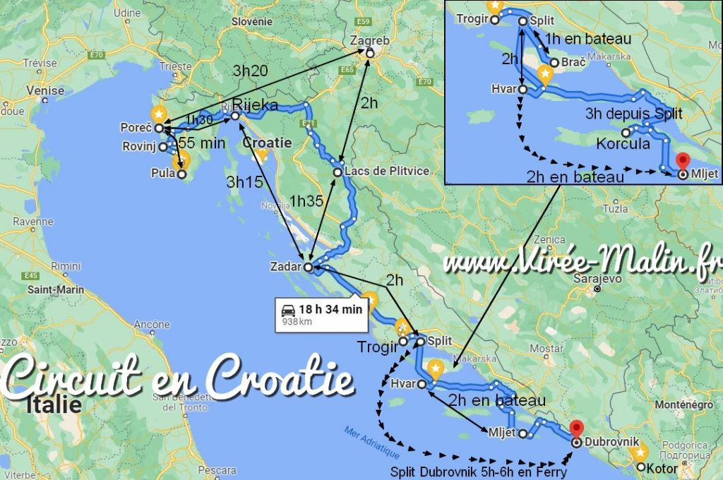 carte-circuit-voyage-croatie-2-semaines
